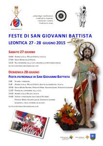 Programma San Giovanni Leontica 2015